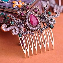 Vintage Women Hair Combs 2016 Brand Turkish Bijoux Green Crown Big Water Drop Acrylic Hairwear Antique Gold Hair Accessories VAZ