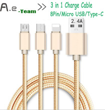 New For  ZTE Nubia Z11 MAX 3/Z9 Mini  in1 Type-C USB 3.1&8Pin& Micro USB 2.4A Fast Charge Cable For ZTE Blade A1/A5 Pro/X5/A610