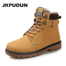 JKPUDUN Winter Mens Fur Army Military Boots Leather Shoes Italian Fashion Designer Hunting Man Boots Botas Hombre Plus Size Bot