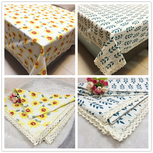 Cotton linen lace tablecloth pastoral style leaves flower Linen Tablecloth table cloth dining table cover desk towels Dust cloth
