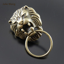 Julie Wang Fashion Hot Sell 6PCs (=3 Pairs ) Alloy Retro Bronze Lion Head Stud Earrings With Ear plugs(China)