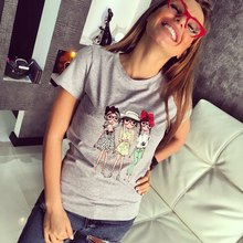 Jo Kalin 2017 Brand New Summer Fashion clothes for women three wear glasses girls print harajuku kawaii t shirt women's T-Shirts
