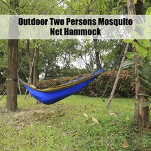 260 x 140CM Tough Indoor Outdoor Parachute Fabric Hammock Two People Hanging Bed Equipment For Travel Kits Camping