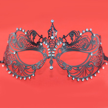 Classic Pierced Metal Venice Masks Shiny Rhinestone Masks for Masquerade Ball Best Gift for Girls SD249(China)