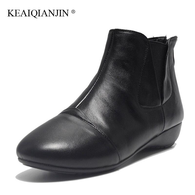 KEAIQIANJIN Woman Platform Boots Autumn Winter Oxford Chelsea Boots Platform Boots Genuine Leather Martins Bota Black Apricot<br>