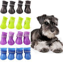 4PCS/set Lovely Dog Shoes Puppy Candy Colors Rubber Boots Waterproof Pet Rain Shoes Size S/M/L(China)