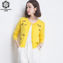 New Women Sweater Spring Short Cardigan Autumn Sweater Korean Slim Print Knit Lip prints Outwear Coat Office Lady Cardigans(China)