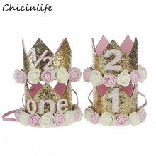 Chicinlife Baby Girl One Two Three Years Old Birthday Hat Crowm With Flowers Headbands Birthday Party Decoration Hair Decorative