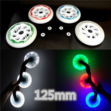 6 pcs/set 125mm LED Speed Inline Skates Wheels 85A Hardness Wearable Race Skating Wheels For Powerslide Speed Skating Patines(China)