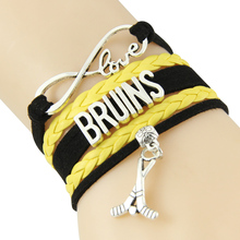 Chain Bracelet Infinite Love BRUINS Black And Yellow Cord Fulfill(China)