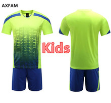 AXFAM Kids Short sleeves Blank Soccer Sets Jerseys shorts Custom Training Suit 2017 High quality Football Uniforms JUN66007-1