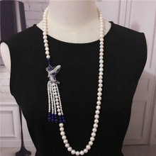 Hand knotted natural 8-9mm white freshwater pearl blue stone butterfly tassel necklace sweater chain fashion jewelry