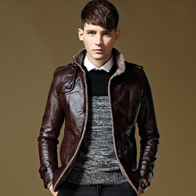 JOOBOX Brand 2017 Mens Autumn Jackets And Coats Business Leisure Cotton Liner Stand Collar Cotton leather jacket winter Clothing