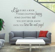 Life is Like a Book Custom Wall Stickers Home Decor Living Room Black Vinyl Removable Wall Art Decals Waterproof Wallpaper A034