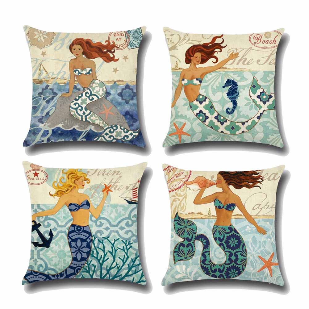 1Pcs Mermaid Sea Shell Pattern Cotton Linen Throw Pillow Cushion Cover Car Home Decoration Sofa Bed Decorative Pillowcase(China (Mainland))