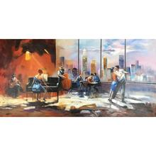 Famous Modern art Playing music with view on skyline Willem Haenraets Paintings on Canvas Large for living room Hand painted