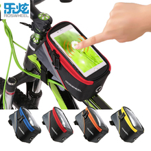 ROSWHEEL BICYCLE BAGS CYCLING BIKE FRAME PHONE BAGS HOLDER PANNIER 5.7INCH MOBILE PHONE BAG CASE POUCH WATER RESISTANT