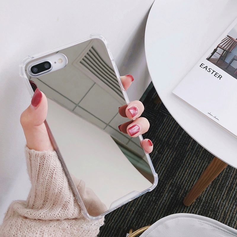 Luxury Mirror case For iphone XS Max XR Cover silicone soft TPU shockproof case for iPhone 6 6s 8 7 plus X coque women makeup (5)