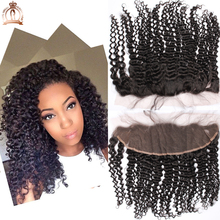 "6A Peruvian Virgin Hair Kinky Curly Lace Frontal Closure 13""*4"" Bleach Knots Cheap Full Lace Frontal Piece With Baby Hair"