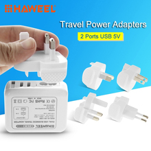 HAWEEL Mini Car Charger Dual USB UK EU US AU Plug Travel Power Adapters For iPad & Mobile Phone For iPhone 6 & 6 Plus Charging(China)