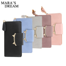 Mara's Dream Design Women PU Leather Wallets Long Tassel Girl Cute Cell phone Card Coin Holder Clutch Purse Lady Burse Money Bag(China)