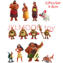 12Pcs/Set Anime Moana Waialiki Maui Heihei Moana Adventure Action Figures Princess Toy Dolls kids toys