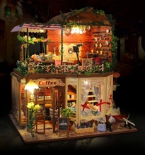 Rhea's Coffee House Large DIY Wood Pastoral Doll house 3D Miniature Dust cover+Lights+Furnitures Home&Coffee shop decoration CE