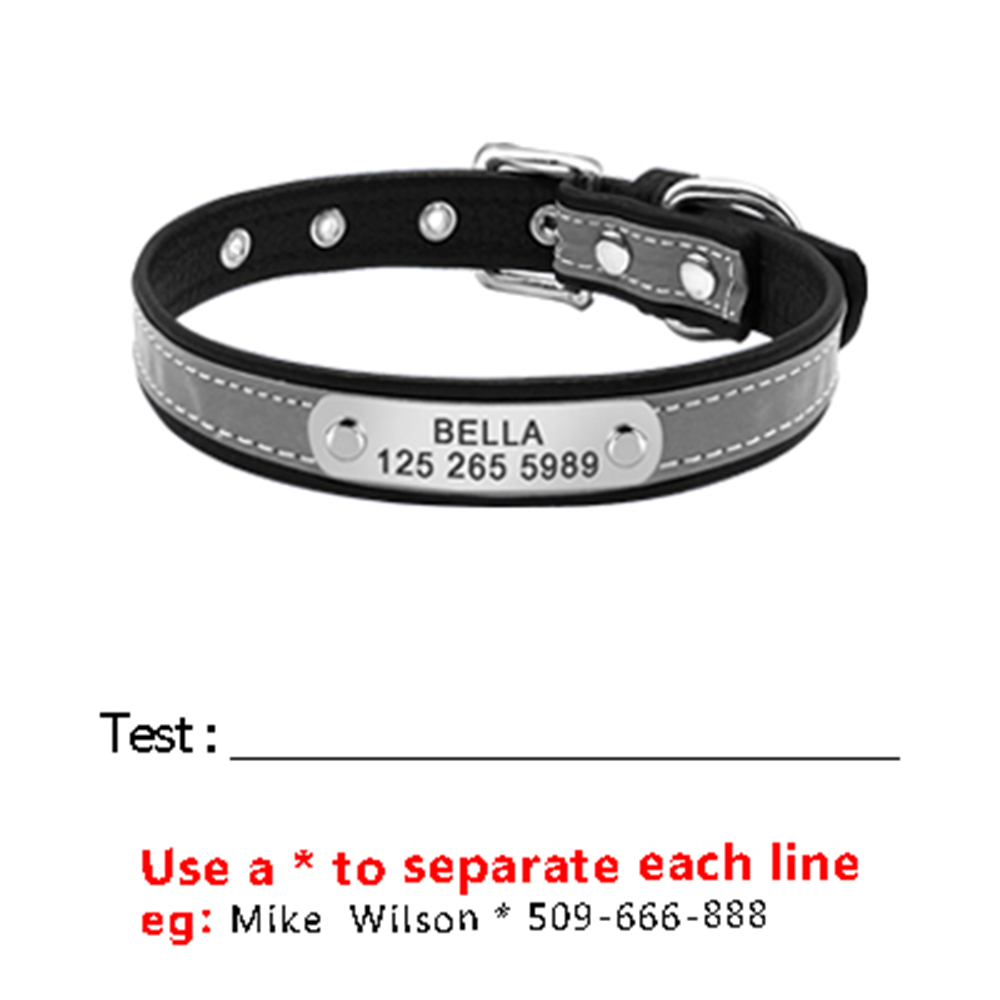 Reflective-Leather-Engraved-Dog-Cat-Puppy-Collars-Padded-Custom-Nameplate-Phone-ID-Tag-Collar-Free