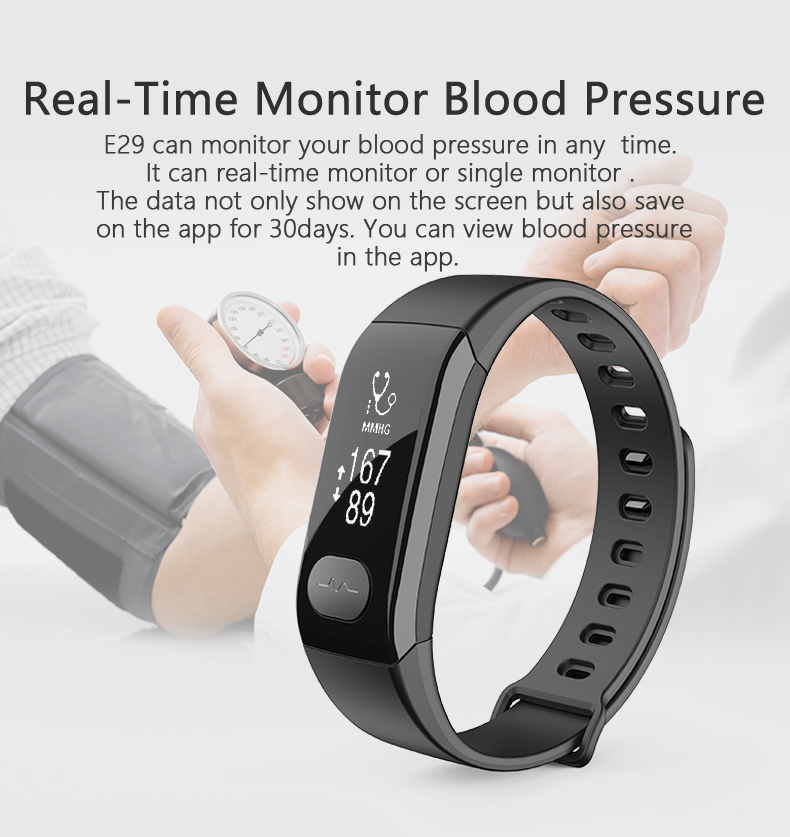 Top Deals Waterproof E29 Smart Wristband Bracelet Blood Pressure ECG Heart Rate Monitor Fitness Tracker Sport Watch Smart band