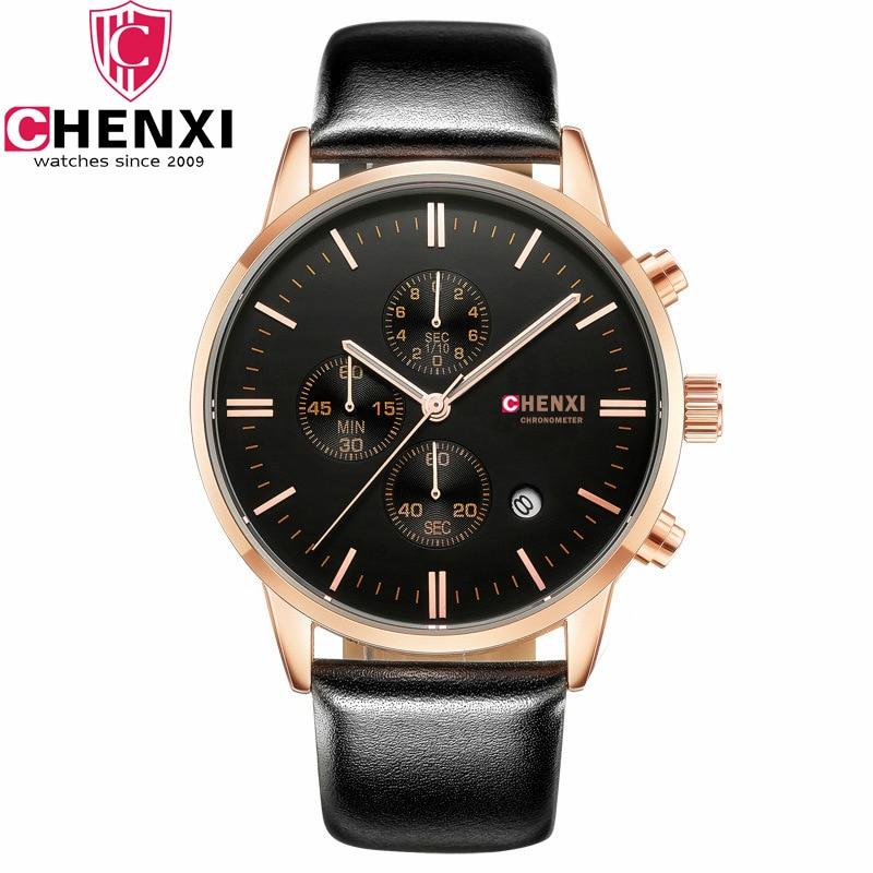 Men Watches Top Brand Luxury CHENXI  Military Sport Multifunction Wristwatch Chronograph Leather Quartz Watch relogio masculino<br>
