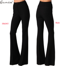 Gamiss 2017 Summer Fashion style button high waist woman Ultra wide leg pants trousers black thin bell bottom trousers wholesale