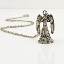 Boho Movies Doctor Who Weeping Angel 3D Double-Faced Chain Necklaces Sliver Color Alloy Pendant Accessories Free Shipping