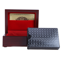 1Set Playing Cards Poker with Plastic Container Wholesale High Quality Oval Shaped Wooden Box Christma 54 Cards Board Game Poker(China)