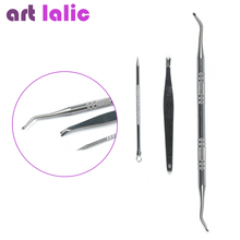 3 Pcs / Set Beauty Stainless Steel Black Head Needle + Ingrown Nail Lifter + Cuticle Trimmers Nail Art Manicure Tools Artlalic(China)