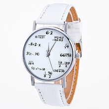 Ladies Watch Fashion Math Function Pattern Leather Band Alloy Analog Quartz Vogue Watches Wrist Watches For Women Reloj Mujer@YL