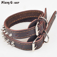 Dog harness Adjustable Brown Genuine Cow Leather Rivet Spiked Studded Pet Puppy Dog Collar Neck Strap S M L(China)