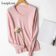 LeapLoo 2017 High Women Cashmere Sweater Autumn Sweater Female Casual Solid V-Neck Long Sleeve Knitted Pullovers(China)