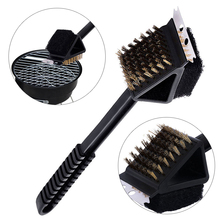 Stainless Steel 3 in 1 Barbecue Grill Cleaning Brush Wire Cleaner Outdoor Durable BBQ Clean Tool Accessories with Handle Mayitr