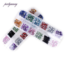PF 12 Colors Acryl Round Diamond Nail Art Jewelry for Nails Sequins Beads Manicure Stickers for Nails Phone Case Appliques TZ022(China)