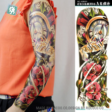 AC-005/2016 Latest Extra Large Temporary Tattoos Super Cool Flower Clock Full Arm Tattoo Sticker For Men Women