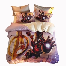 Character kids bedding set 100% cotton anime bedding boys duvet cover bedspread pillow cover queen twin soft bed linen Iron Man(China)
