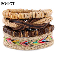 SOHOT Hobo Handmade Handcraft Wrapped Wood Beads Multilayer Leather Rope Made of Hemp Bracelet New Jewelry Armband Pulseira