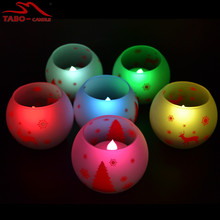 Battery Operated Flameless Color Changing LED Tealight Candle In 12 Different Colors with Glass Holder for Christmas Wedding