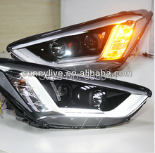 LED Strip Head Light with Bi Xenon Projector Lens For Hyundai New Santa Fe 2013-2014 Year