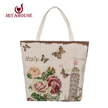 European Style Female Canvas Tote Floral And Tower Printing Handbags Women Canvas Beach Bag For Girls Embroidery Shoulder Bags