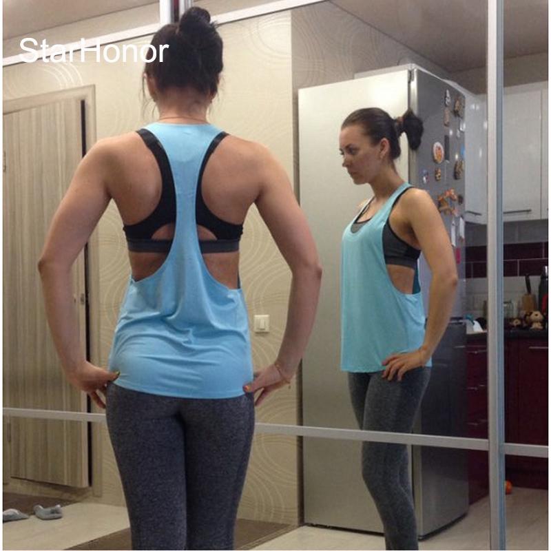 StarHonor Women Yoga Shirts Tops Fitness Sports Vest Sleeveless Shirts Tops Gym Clothes Shirt For Gym Camiseta Running Shirt 4