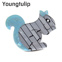 Young Tulip Fashion Acrylic Squirrel Brooches for Women Acetate Fiber Brooch Pin Animal Jewelry Fashion Broches New Year Gift(China)