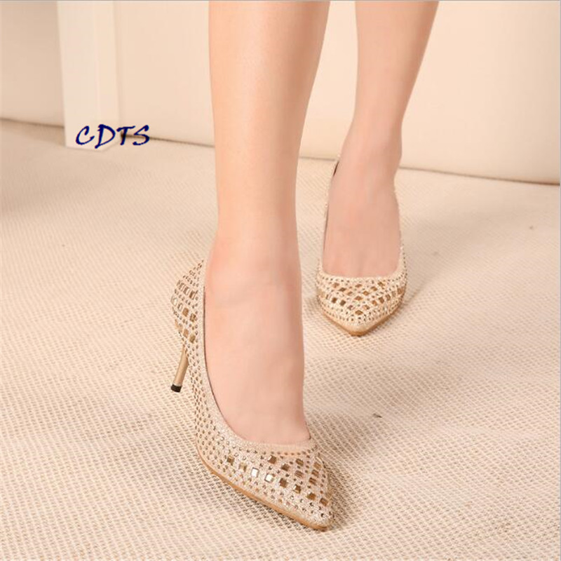 CDTS Plus:34-38 39 2017 Spring/Autumn 7 or 10cm thin heel  poined Toe Rhinestone women shoes sexy Glitter wedding pumps<br><br>Aliexpress