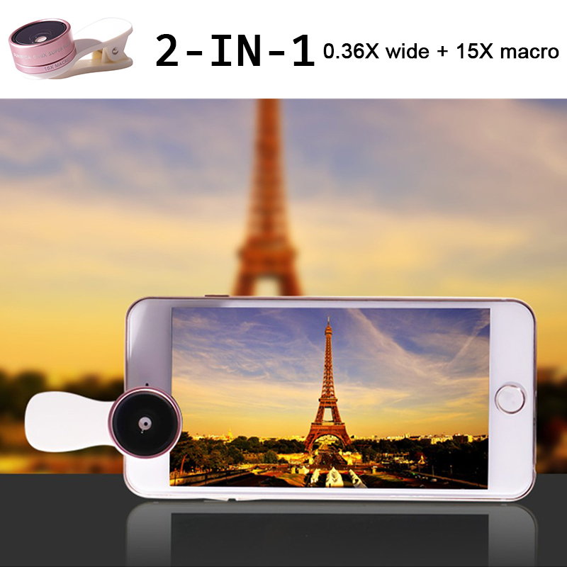 2in1 Clip-on HD Lens Kit 0.36X Wide Angle 15X Macro Phone Lenses doogee x5 max x6 elephone s7 gooweel nexus 5 gionee m6