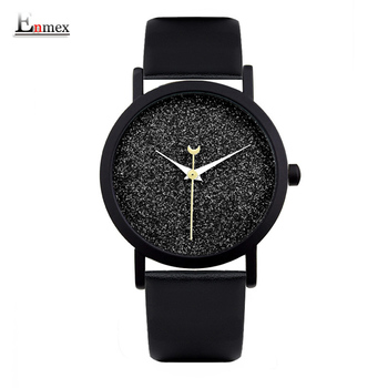 Senhoras relógio enmex presente novo estilo de design criativo boa noite céu estrelado breve simples rosto banda de quartzo de couro relógio de pulso de moda